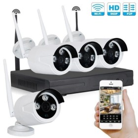Kit camera videosurveillance sans fil wifi 4 caméras tubes exterieures antivandale infrarouge NVR IP HD 960P 1.3 MP