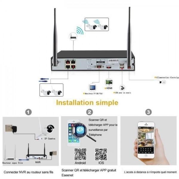 KIT VIDÉOSURVEILLANCE PRO IP sans fil 8 CAMÉRAS TUBES WIFI IR 20M 960P + ENREGISTREUR NVR 4 CANAUX WIFI H264 Full HD 2000 GO