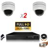 KIT vidéosurveillance AHD 2 Caméras Dômes Motorisée PTZ IR 20m FULL HD 1080P Enregistreur DVR AHD FULL HD 1000 Go  Vidéo surveil
