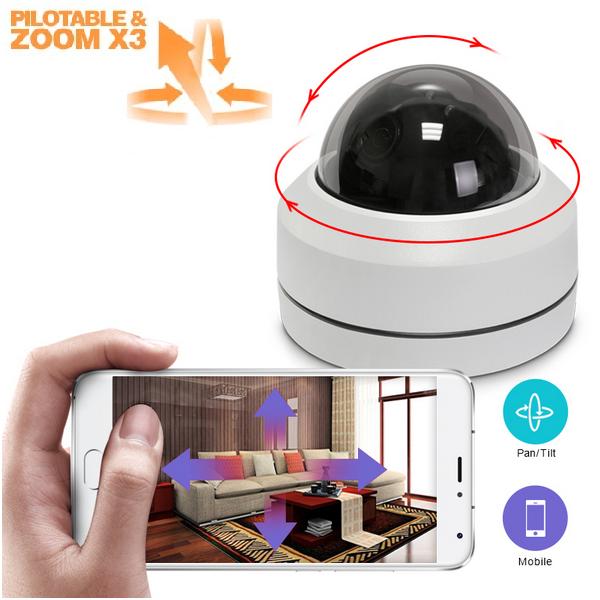 Kit vidéosurveillance 4 caméras dômes motorisées PTZ zoom X3