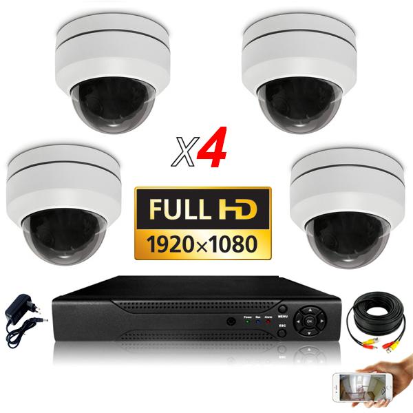 KIT vidéosurveillance AHD 4 Caméras Dômes Motorisée PTZ IR 20m FULL HD 1080P Enregistreur DVR AHD FULL HD 2000 Go Vidéo surveill