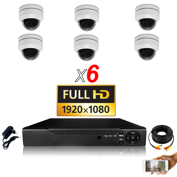 KIT vidéosurveillance AHD 6 Caméras Dômes Motorisée PTZ IR 20m FULL HD 1080P Enregistreur DVR AHD FULL HD 2000 Go Vidéo surveill