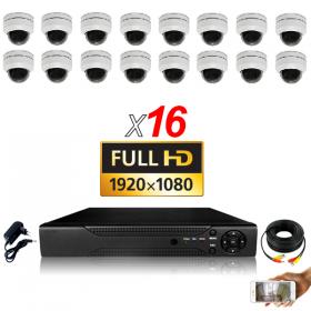 KIT vidéosurveillance AHD 16 Caméras Dômes Motorisée PTZ IR 20m FULL HD 1080P Enregistreur DVR AHD FULL HD 4000 Go Vidéo surveil