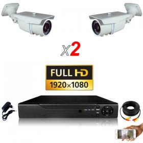 kit vidéo surveillance professionnel HD 2 Caméras tubes varifocale SONY FULL HD 1080P Enregistreur DVR AHD disque dur Pack vidéo