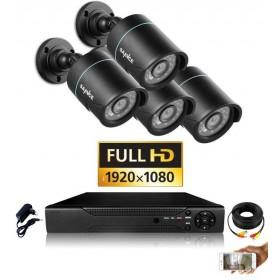 Pack vidéo surveillance professionnel HD 4 Caméras tubes noires varifocale SONY FULL HD 1080P Enregistreur DVR AHD disque dur ki