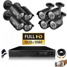 Packs vidéo surveillance professionnel HD 8 Caméras tubes noires SONY FULL HD 1080P Enregistreur DVR AHD disque dur Pack vidéos