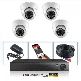 kit video surveillance professionnel 4 cameras ahd exterieures domes infrarouge 20m capteur sony 960p enregistreur numerique dvr