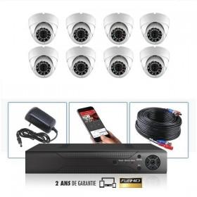 kit video surveillance professionnel 8 cameras ahd exterieures domes infrarouge 20m capteur sony 960p enregistreur numerique dvr
