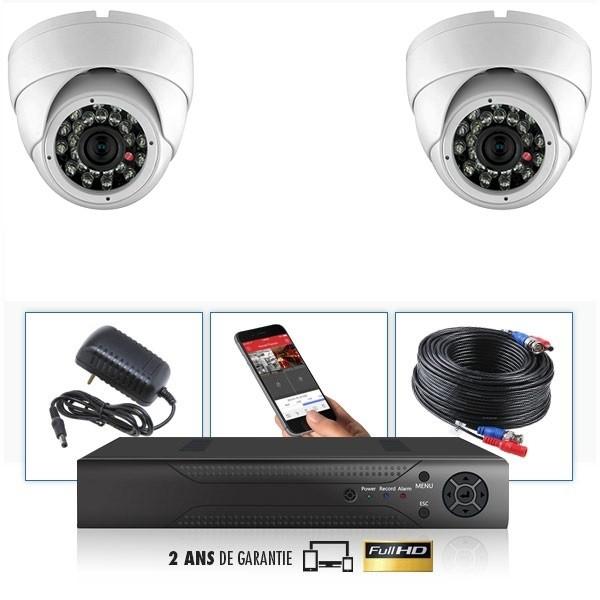 kit video surveillance professionnel 2 cameras ahd exterieures domes infrarouge 20m capteur sony 960p enregistreur numerique dvr