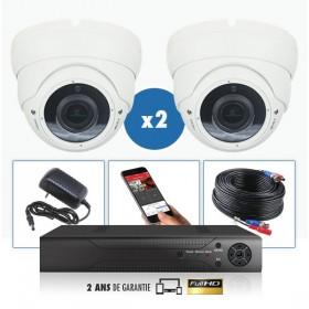 kit video surveillance professionnel 2 cameras ahd exterieures domes varifocale infrarouge 20m capteur sony 960p enregistreur nu