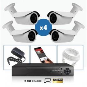 kit video surveillance professionnel 4 cameras ahd exterieures tubes infrarouge 20m capteur sony 960p enregistreur numerique dvr