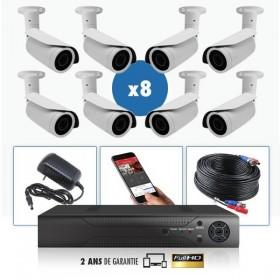 kit video surveillance professionnel 8 cameras ahd exterieures tubes infrarouge 20m capteur sony 960p enregistreur numerique dvr