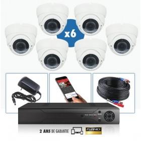 kit video surveillance professionnel 6 cameras domes varifocal exterieures tubes infrarouge 20m capteur sony 960p enregistreur n