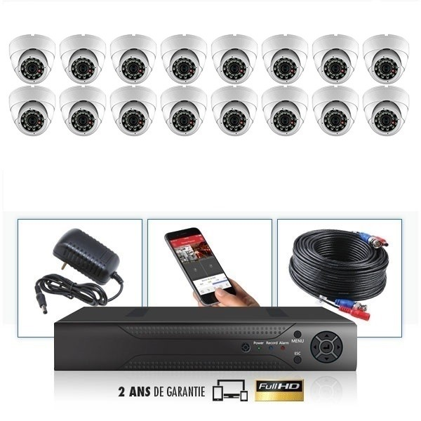 kit vidéo surveillance professionnel HD 16 Caméras Dômes varifocale IR SONY FULL HD 960P Enregistreur DVR AHD disque dur Pack