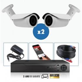 kit video surveillance professionnel 2 cameras ahd exterieures tubes infrarouge 20m capteur sony 960p enregistreur numerique dvr