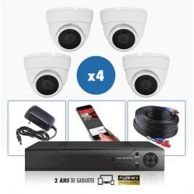 kit videosurveillance professionnel 4 cameras ahd exterieures domes infrarouge 20m capteur sony 1080p enregistreur numerique dvr