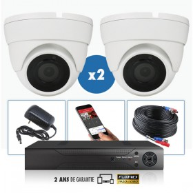 kit videosurveillance professionnel 2 cameras ahd exterieures domes infrarouge 20m capteur sony 1080p enregistreur numerique dvr