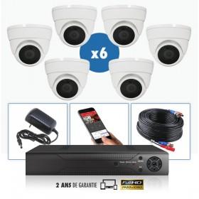 kit videosurveillance professionnel 6 cameras ahd exterieures domes infrarouge 20m capteur sony 1080p enregistreur numerique dvr