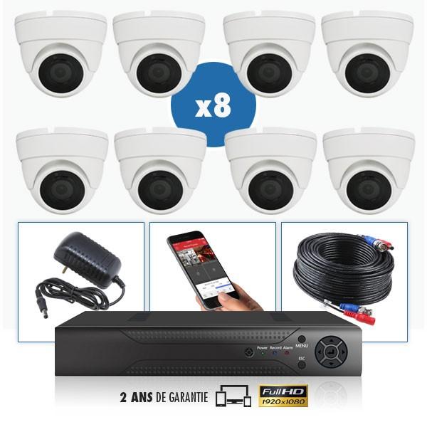 kit videosurveillance professionnel 8 cameras ahd exterieures domes infrarouge 20m capteur sony 1080p enregistreur numerique dvr