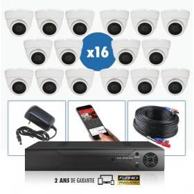 kit vidéo surveillance professionnel HD 16 Caméras Dômes varifocale IR SONY FULL HD 1080P Enregistreur DVR AHD disque dur Pack