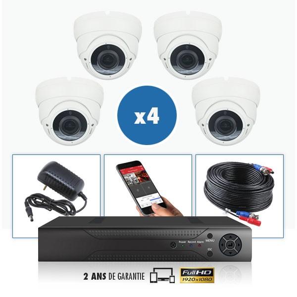 kit video surveillance professionnel 4 cameras varifocale exterieures domes infrarouge 20m capteur sony 960p enregistreur numeri
