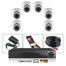 kit vidéo surveillance professionnel HD 6 Caméras Dômes varifocale IR SONY FULL HD 960P Enregistreur DVR AHD disque dur Pack vid