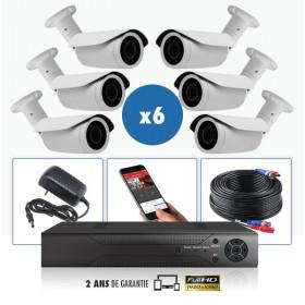 kit vidéo surveillance professionnel HD 6 Caméras tubes exterieures SONY FULL HD 1080P Enregistreur DVR AHD disque dur Pack vidé