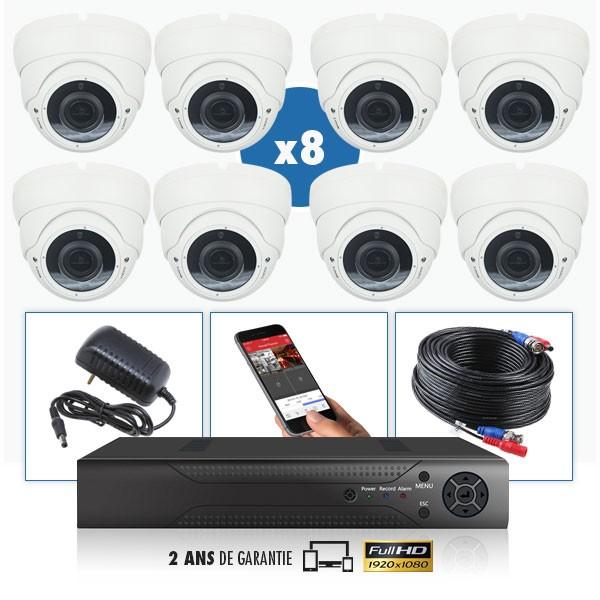 kit vidéo surveillance professionnel HD 8 Caméras domes exterieures SONY FULL HD 1080P Enregistreur DVR AHD disque dur Pack vidé