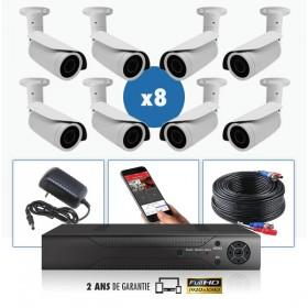 Pack camera vidéosurveillance professionnel HD 8 Caméras tubes exterieures SONY FULL HD 1080P Enregistreur DVR AHD disque dur Pa