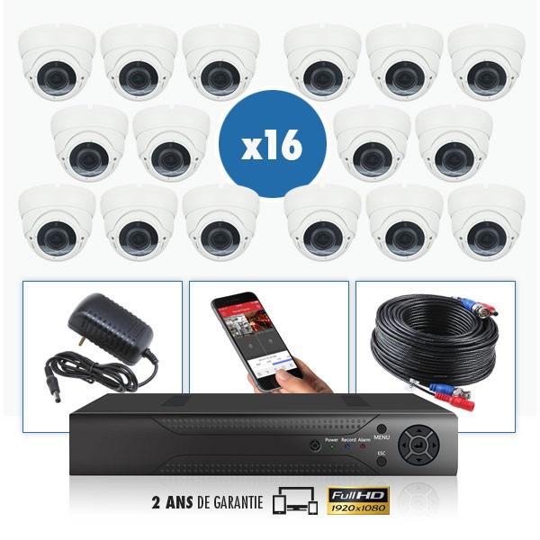 kit vidéo surveillance professionnel HD 16 Caméras dômes varifocale SONY FULL HD 1080P Enregistreur DVR AHD disque dur Pack