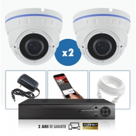 kit vidéo surveillance professionnel HD 2 Caméras IP POE Dômes IR SONY FULL HD 1080P Enregistreur NVR AHD disque dur Pack vidéo