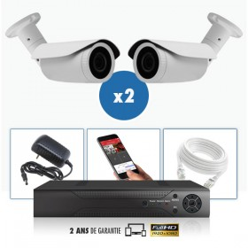 kit vidéo surveillance professionnel HD 2 Caméras IP POE tubes IR SONY FULL HD 1080P Enregistreur NVR AHD disque dur Pack vidéo