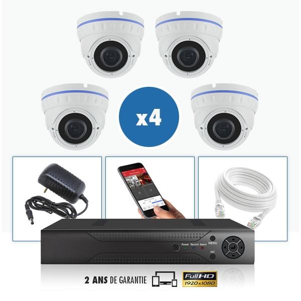 kit vidéo surveillance professionnel HD 4 Caméras IP POE Dômes IR SONY FULL HD 1080P Enregistreur NVR AHD disque dur Pack vidéo