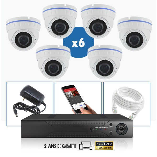 kit vidéo surveillance professionnel HD 6 Caméras IP POE Dômes IR SONY FULL HD 1080P Enregistreur NVR AHD disque dur Pack vidéo