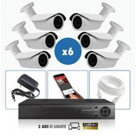 kit vidéo surveillance professionnel HD 6 Caméras IP POE tubes IR SONY FULL HD 1080P Enregistreur NVR AHD disque dur Pack vidéo