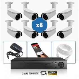 kit vidéo surveillance professionnel HD 8 Caméras IP POE tubes IR SONY FULL HD 1080P Enregistreur NVR AHD disque dur Pack vidéo