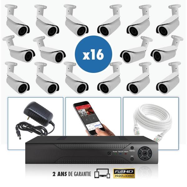 kit vidéo surveillance professionnel HD 16 Caméras IP exterieures POE tubes IR SONY FULL HD 1080P Enregistreur NVR AHD disque du
