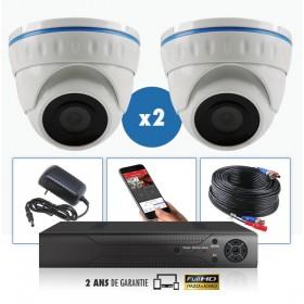 KIT vidéo  AHD 2 Caméras domes IR 20m 4 MegaPixels et Enregistreur DVR AHD 4 MegaPixels 1000 Go / Pack de vidéo surveillance