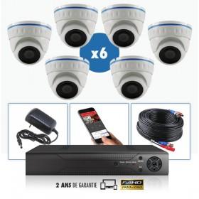 KIT vidéo AHD 6 Caméras dômes IR 20m 4 MegaPixels et Enregistreur DVR AHD 4 MegaPixels 1000 Go / Pack de vidéo surveillance