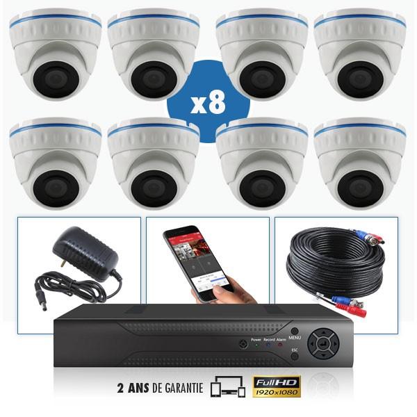 Pack Caméra vidéosurveillance AHD dôme IR 20m 4 MegaPixels et Enregistreur numerique DVR AHD 4 MegaPixels Pack de vidéo surveill