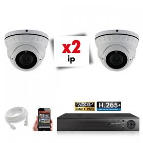Kit vidéosurveillance 2 caméras varifocales IP POE PRO FULL HD H265 5MP
