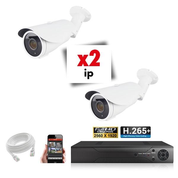 Kit vidéosurveillance 2 caméras tubes varifocales IP POE PRO FULL HD H265 5MP