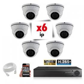 Kit vidéosurveillance 6 caméras zoomauto 5X IP POE PRO FULL HD 2.4 MP