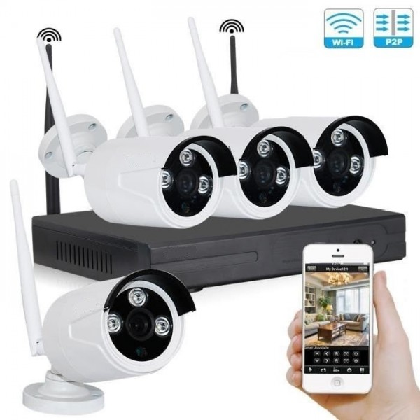 Kit vidéosurveillance sans fil wifi IP 4 caméras HD 1080P 2MP
