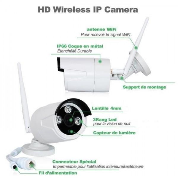 KIT VIDÉOSURVEILLANCE PRO IP sans fil 4 CAMÉRAS TUBES WIFI anti-vandal étancghe IR 20M 1080P + ENREGISTREUR NVR 4 CANAUX WIFI