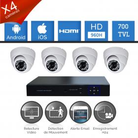 Kit vidéosurveillance 4 caméras HD SONY 700 TVL 960H dvr