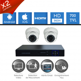 Kit vidéosurveillance 2 caméras FULL HD varifocal