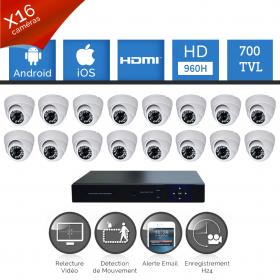 Pack vidéosurveillance 16 caméras HD SONY 700 TVL DVR 960H
