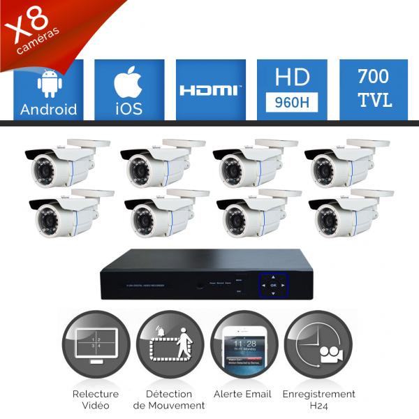 Pack vidéosurveillance 8 caméras tubes FULL HD SONY 700 TVL varifocal DVR 960H