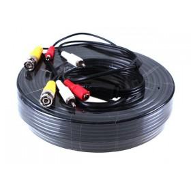 Câble vidéo 3 en 1 Alim + vidéo + audio de 20m pour micro et camera videosurveillance